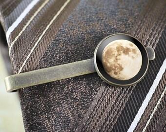 Full Moon Tie Clip - Original Lunar Photography, Men's Tie Bar, Astronomy Tie Clip, Moon Tie Bar, Space Tie Clip, Lunar Jewelry Men