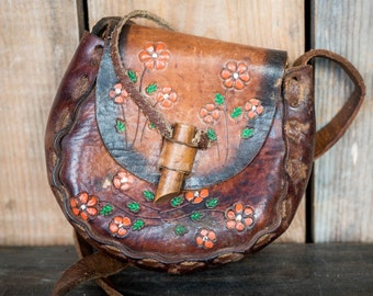 Vintage Tooled Leather Purse - Painted Flowers Mexico Tooled Leather Hand Made Purse - Retro 70's Shoulder Bag Boho Hippie Purse Orange