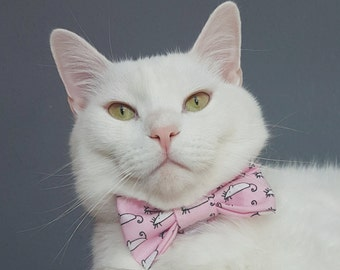 """Katzenhalsband mit Fliege - """"Maus"""" - Sicherheitsverschluss/Breakaway - Rosa/Pastell - Abnehmbar - Baumwolle"""