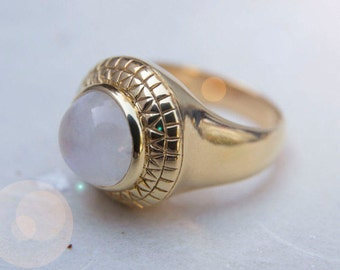 Rainbow Moonstone Gold Geometric Ring. Handmade. Semi-precious Gemstone. Boho Ring. Signet Ring. Womens Statement Ring. Energy Ring.