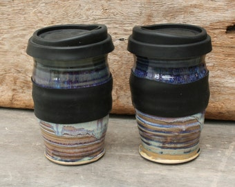Pottery travel mug! Handmade ceramic to-go cup with silicon lid. Take your coffee or tea with you without leaving your favorite mug behind.