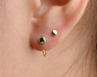 Dainty Lab Emerald Hug Hoops, Sterling Silver Gold Plated, Gemstone Hug Earrings, Open Hoops, Minimalist  Gift, Lunai, EAR039LEM