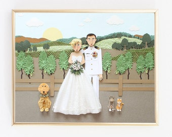 Paper Anniversary gift for your One Year Wedding Anniversary. Custom Wedding Portrait from Photo.