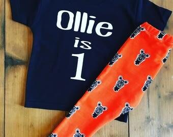 Orange zebra leggings