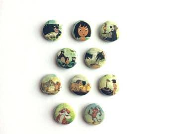 The Jungle Book 1 inch pinback buttons // Mowgli Button // Classic Disney Buttons