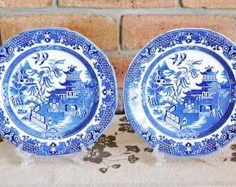 Burleigh Ware blue and white Willow vintage 1930s dinner, serving plates