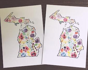 Set of two postcards/ Michigan postcard: watercolor art/ 5x7
