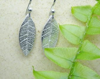 Leaf earrings, minimal silver dangle and drop, plant themed leaf jewellery,  great gift for garden lover, woodland wedding earrings for her