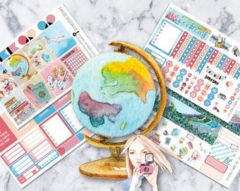 MINI Weekly Kit / Travel The World / Planner Stickers /  Fits Erin Condren Vertical & MAMBI / Watercolor / Hand Drawn