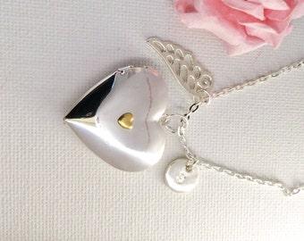 Silver locket, heart locket, photo locket, personalised locket, silver and gold locket, angel wing necklace, angel wing jewellery,