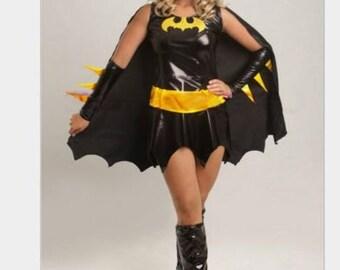 Ladies woman's Black Bat girl  fancy dress costume Uk size to fit 4 6 8 10 12 14 16