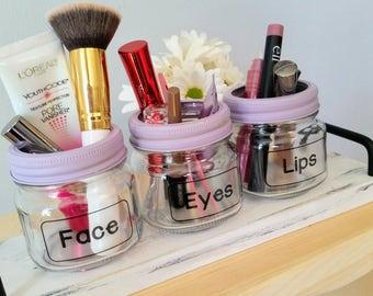 Make-Up Tidy Trio / Make-Up Organizer / Make-Up Brush Holder / Mason Jar Organizer / Jar Organization / Make-Up Tray / Mix & Match Jars