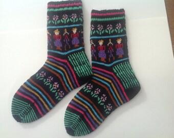 Fair isle socks, Handknit colorwork  socks, black with multicolour motifs,folk patterned socks.