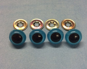10.5mm Blue Safety Crystal Eyes with Metal Backs for Teddy Bear Making