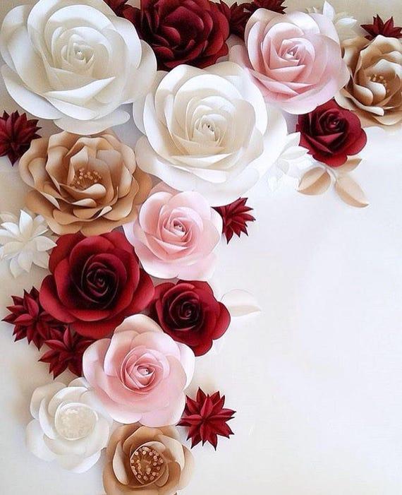 Large Paper Flowers Wedding Decoration Ideas White Paper