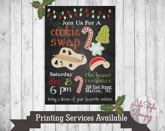 Christmas Cookie Swap Invitation - Cookie Exchange - Christmas Party - Cookie Swap - Invitation - Office Party- Delicious - Cookies