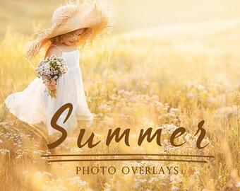 50 Summer photo overlays, photoshop overlays, bubble overlays, sun lens flare overlays, sunset overlays