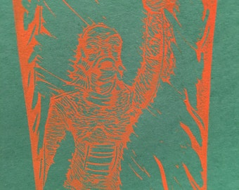 Creature from the black lagoon lino carved print