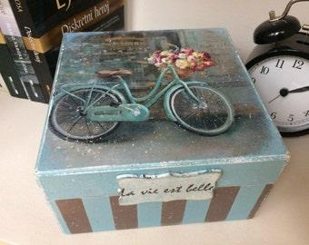 Wooden Keepsake box, jewelry box decoupage