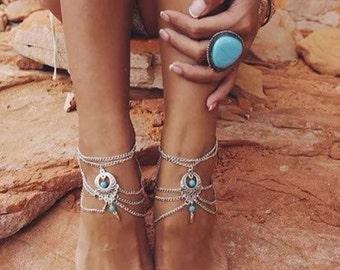 Turquoise anklet barefoot sandal