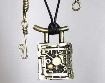 Traditional Jewelry, Brass Pendant, Japanese jewelry, Steampunk Jewelry, Steampunk Pendant, Shinto  pendant, Zen jewelry, Asian Jewelry,