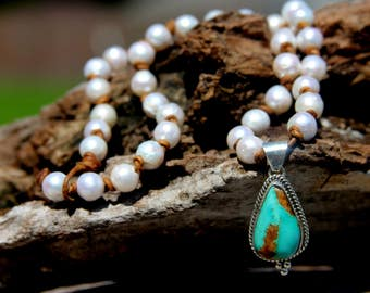 Turquoise & Sterling Silver Necklace with Freshwater Pearls - 6425-25