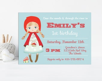 Red Riding Hood Invitation, Storybook Invitation, Little Red Riding Hood, Fairy Tale Invitation, Woodland Invitation, Printable Invitation