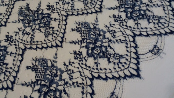 Black lace fabric, french lace, embroidery lace, Wedding lace, lace suite, veil lace, lingerie lace Chantilly Lace