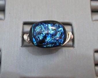 Dichroic Glass & Sterling Silver Adjustable Ring - g0840r09