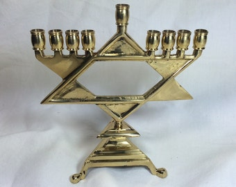 Nice Brass STAR OF DAVID Vintage Jewish Menorah Hanukkiah Candles Holder for Hanukkah or Decoration Israeli Judaica Hebrew