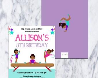 Printable-Gymnastics-African American-Birthday Invitation-Girl-Party-Fiesta-Custom-Purple-Teal-Tumble-Pink-Invitation-fun