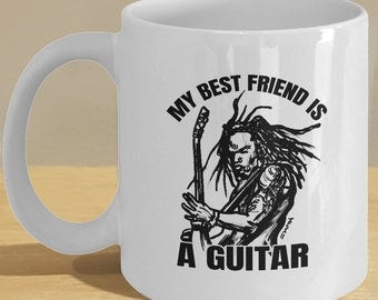 Best Friend Guitar Gift Mug, rockstar / rocker cup for rock n roll music and guitar lovers and fans! Guitarist black and white art decor!