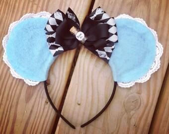 Disney Alice in Wonderland Minnie Ears Lace Drink Me Bottle Black Bow