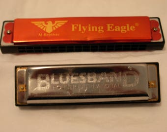 Two Harmonica, Flying Eagle M Brother, BluesBand Hohner International. Free Shipping