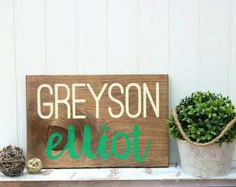 Personalized nursery sign, Wood wall art, Wood baby name sign, Kids room wall decor, Gallery wall sign