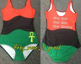 RBG ANKH One Piece Swimsuit Marcus Garvey Pan African Pride bodysuit swimsuit jumpsuit