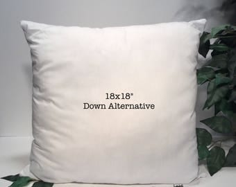 "Pillow Form, Pillow Insert, 18x18"" Pillow Insert, 18x18"" Pillow Form, Down Alternative Pillow Insert, Down Alternative Pillow Form, Pillow"