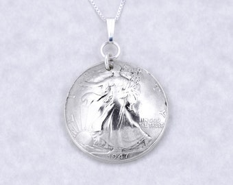 70th Birthday Gift - 1947 Silver Half Dollar Coin Pendant Necklace Jewelry - Birthday Gift for Mother - Birthday Gift for Grandma - Sister