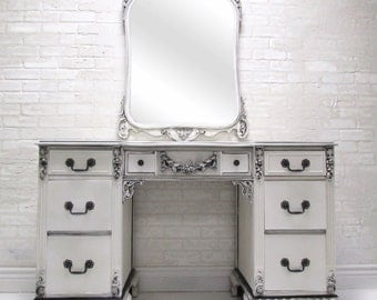 Make Up Vanity - Elegant Vintage Antique Black and White Ornate Romantic and Classy Hand Painted Vanity