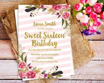 pink sweet sixteen birthday invitation, Gold and pink 16th Birthday Invite, pink strips Invite, modern glam invitation, Boho 16th Birthday