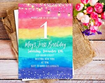 Rainbow Birthday Invitation, Rainbow watercolor birthday invitation, rainbow first birthday invite, stringlight invitation, kids birthday