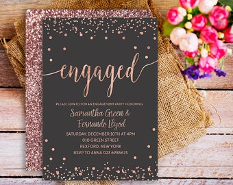 rose gold engaged Invitation printable, printable engagement invitation rose gold, gold rose engagement party invite, confetti gold rose