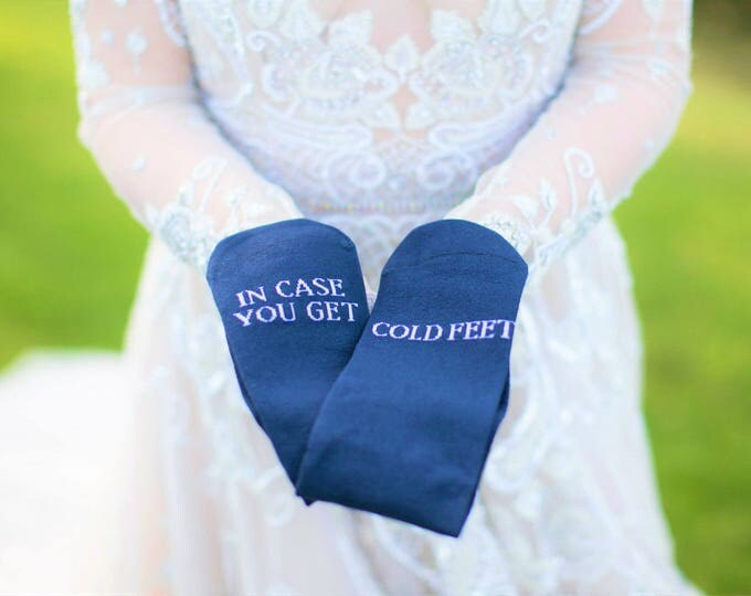 In case you get cold feet socks, wedding, grooms socks, cold feet socks wedding gift idea navy blue