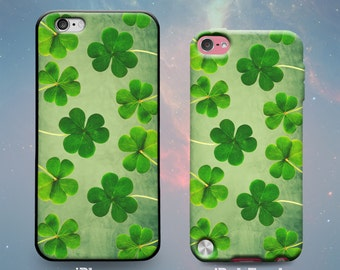 Green Shamrocks Clovers Vintage Painting Style Irish St. Patrick's Day Ireland Rubber Case for iPhone 7 6s 6 Plus 5s 5 5c SE iPod Touch