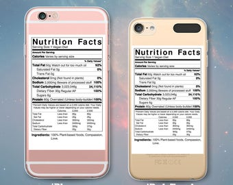 Vegan Nutrition Facts & Ingredients Funny Cool Carbs Fat Protein Clear Rubber Case for iPhone 7 6s 6 Plus 5s 5 5c SE iPod Touch 6th 5th Gen