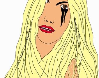 Lady Gaga Digital Drawing