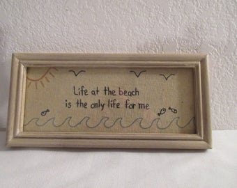 """Handmade """"Life at the Beach"""" Embroidery Wall Hanging"""