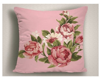 Pink Throw Pillows with Romantic Vintage Piony, Boudoir Pillows, Floral Pillows, Large Pillow Covers,