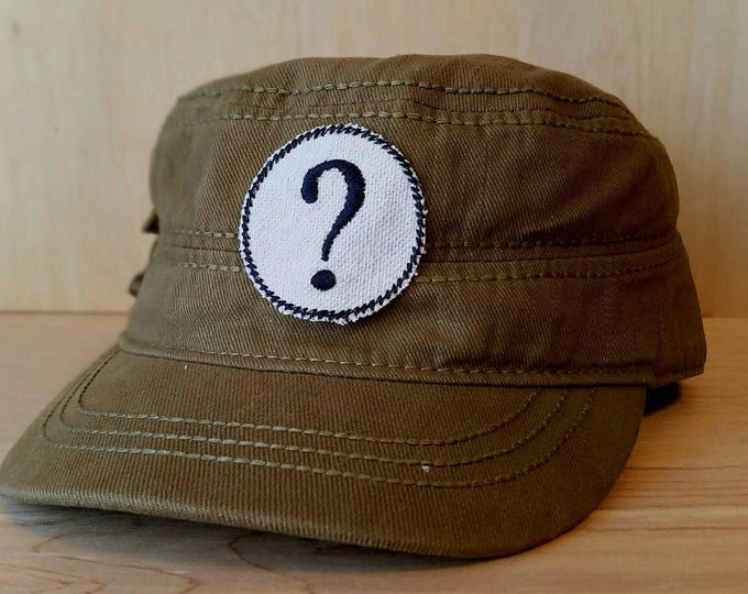 Embroidered Question Mark Upcycled Canvas Iron On Artisan Made Jacket Hat Patch