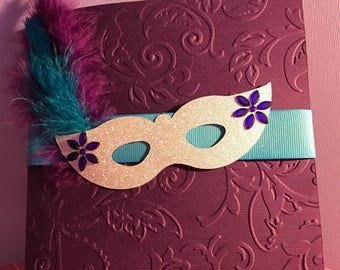 Masquerade invitation for Sweet 16, Quinceañera or Masquerade party